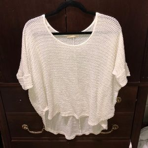 White short sleeve overlay/sweater